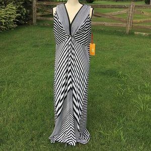 Ruby Rd black white striped knit maxi dress L NWT